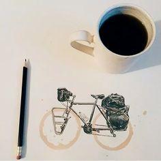 beautifully drawn bike with coffee rings