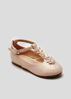 Girls t bar ballet shoes in nude shimmer fabric with jewel flower trim on the t bar. Matalan, Little People, Ballet Shoes, Kids Outfits, Footwear, Bar, Sneakers, Girls, Fashion