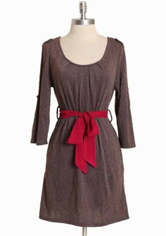 """Crossborough Breeze Dress In Mocha 36.99 at shopruche.com. This cotton-blend dress in mocha is accented with textured lines and a removable magenta sash for contrast and waist-defining detail. Completed with button-tabs, three-quarter sleeves, and hidden side pockets.  Shell: 65% Polyester, 30% Cotton, 5% Spandex Lining: 100% Polyester Imported 33"""" length from top of shoulder"""