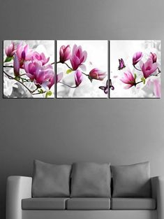 Luxury Elegant Canvas Painting Wall Pictures 3 Panel Such 3 panel wall art - Wall Art Multi Canvas Painting, Hand Painting Art, Painting Frames, Canvas Paintings, Painting Classes, Butterfly Frame, Flower Frame, Butterfly Print, Butterfly Canvas