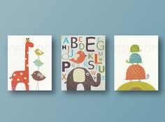 Nursery art print, baby nursery decor, nursery print, baby room decor, Kids art, elephant, giraffe, bird, alphabet, Set of three 8x10 prints. $42.00, via Etsy.