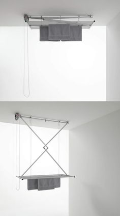 clothes dryer ceiling - 10 space-saving drying racks for small spaces Laundry Drying Rack Wall, Drying Racks, Small Space Living, Small Spaces, Clothes Dryer, Energy Use, Shoe Box, Space Saving, Shelves