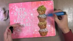 Art Journal Page : Cupcake Great use of embellished paper punched boarder