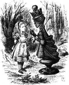 Alice and the Queen of Hearts illustration-John Tenniel.