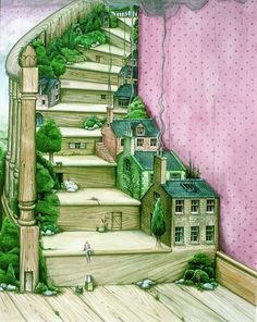 "💖 ""Living Stairs"" painting / print by Colin Thompson. Stairs with built-in fairy doors, fairy houses, & trees! Love this idea! Illustration Vector, Children's Book Illustration, Book Illustrations, Stairway To Heaven, Stair Art, Fairy Land, Fairy Houses, Tree Houses, Surreal Art"