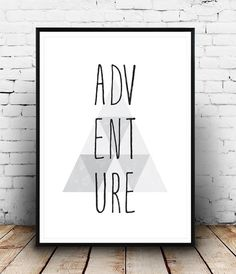 Adventure print Typography Poster Travel art Home by Wallzilla