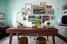 Home office desk home office midcentury with gallery wall dark wood desk