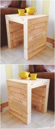 Unique Diy Pallets Sofa Side Table - Basket And Crate Unique Wood Furniture, Pallet Furniture Plans, Diy Pallet Sofa, Diy Pallet Projects, Handmade Furniture, Pallet Ideas, Wood Projects, Diy Furniture, Pallette Furniture