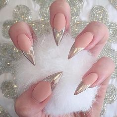Silver Tipped Stiletto Nails and Shoes Great idea Fabulous Nails, Gorgeous Nails, Pretty Nails, Hair And Nails, My Nails, Gold Tip Nails, Nail Art Designs, Crome Nails, Laque Nail Bar
