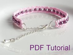 This listing is for a 10 page PDF pattern and tutorial, for a beaded square knot macrame bracelet. The PDF tutorial comes with step-by-step instructions and photos to make the bracelet pictured. If you use 0.6mm waxed nylon cord and 6/0 (4mm) Miyuki duracoat galvanised purple