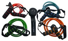 RESISTANCE BANDS WITH HANDLES - FIVE PIECE SET INCLUDES FOUR DIFFERENT COLOUR BANDS AND DOOR ANCHOR. COMPLETE HOME GYM. SPECIAL *BUY ANY THREE AFFORDABLE FITNESS PRODUCTS AND RECEIVE A 5% DISCOUNT - OR BUY ANY 5 AND RECEIVE A 10% DISCOUNT