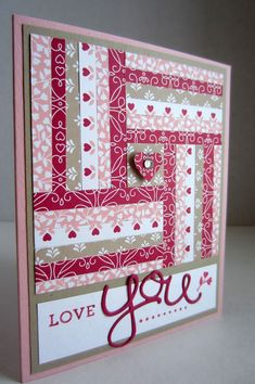 Hey, it's time for another Valentine! For a change, I made a paper quilted card! I thought a loving Valentine quilt would be cute and cozy. Ideas Scrapbook, Scrapbook Cards, Scrapbooking Layouts, Digital Scrapbooking, Washi Tape Cards, Valentine Love Cards, Paper Quilt, Karten Diy, Quilts