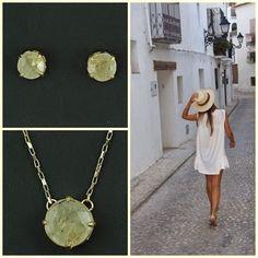 Brincos e colar com cristal de inclusão! www.ckdsemijoias.com.br