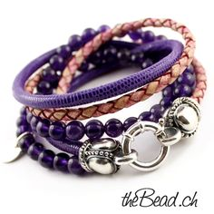 amethyst Damen Armband mit Leder und silber theBead / women leather bracelet with silver, leather and amethyste