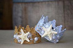 Gold or Silver Petite lace Mermaid Crown. Mermaid Parties - photoshoot - newborn - baby - pearl - starfish - rhinestone.
