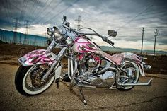 Pink Harley Davidson Softail, for that special woman in your life. Harley Davidson Heritage, Harley Davidson Custom, Harley Davidson Street Glide, Harley Davidson Motorcycles, Triumph Motorcycles, Custom Motorcycles, Custom Bikes, Indian Motorcycles, West Coast Choppers