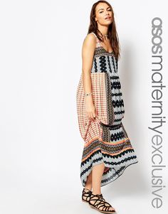 ASOS+Maternity+Beach+Maxi+Dress+In+Boho+Print