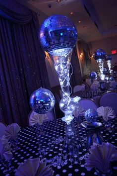 Futuristic Navy Blue Wedding Centerpieces -- A glowing navy theme centerpiece option for the eccentric bride and groom