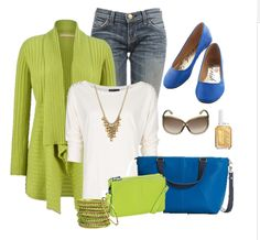 2016 Spring/Summer Thirty One Gifts outfit idea  Featuring the Miles of Style purse in daring cobalt blue and Rolling Jewell wallet in citrus lime. Bold colors are a sure fire way to catch every ones eye when you walk in the room. Thirty one makes it easy to dress up a casual outfit with a pop of color.  If you want to see what is in the current catalog here is a link to my web page.   https://www.mythirtyone.com/aswebb   #31 #thirtyone #Bags #31fashion  #OutfitIdeas #cobaltblue #Lime