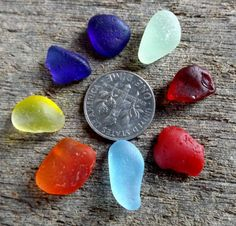 A rainbow of sea glass chips by OceanWanderer on Etsy