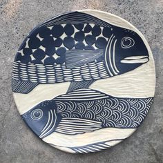 I've set aside this morning to just carving, listening to classical guitar music. so peaceful ❤️ May you find calm in the storm. Ceramic Fish, Ceramic Spoons, Clay Fish, Ceramic Pottery, Pottery Art, Fish Design, Plate Design, Sgraffito, Lino Art