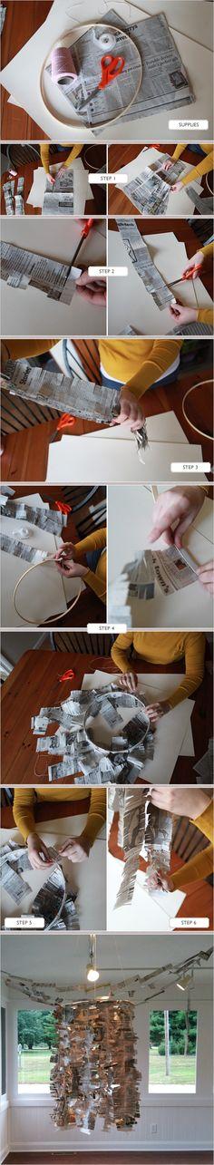 DIY Newspaper Chandelier