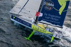 Thomas Ruyant - Le Souffle du Nord  Sailing aerial images of the IMOCA boat Le Souffle du Nord, skipper Thomas Ruyant  (FRA), during training for the Vendee Globe 2016, off Belle Ile in South Brittany, on October 13, 2016 - Photo Jean-Marie Liot / DPPI / Vendée GlobeImages aériennes de Le