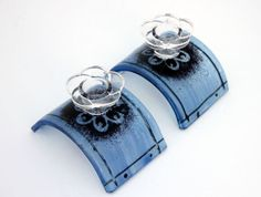Candlesticks   fused Glass blue with black decore by virtulyglass, $35.00