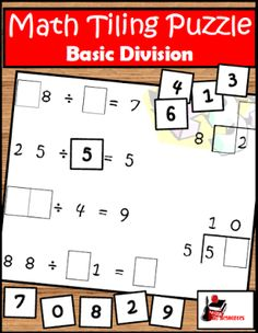 Free Math Puzzle for Division   Give your students a chance to practice their division (and multiplication) facts with this challenging Division Tiling Puzzle. Students will not only practice their basic facts but also their critical thinking skills. This makes a great math center. Download this free puzzle from my Teachers Pay Teachers store.  3-5 division division center division facts division puzzle Raki's Rad Resources