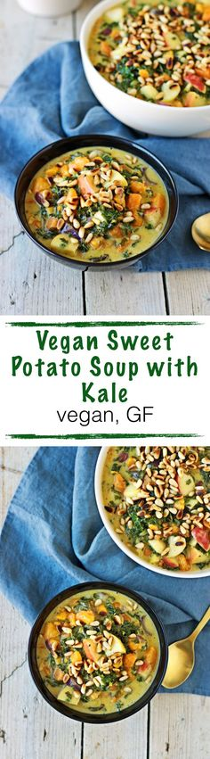 Be sure not to miss this Vegan Sweet Potato Soup with Kale for dinner and perfect for fall: Combining the richness of a potato soup with the healthy boost of kale. With fresh apples and a good amount of toasted pine nuts.