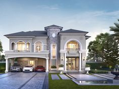 Two Story House Design, 2 Storey House Design, Classic House Design, Unique House Design, Bungalow House Design, Dream Home Design, Classic House Exterior, Modern Exterior House Designs, Dream House Exterior