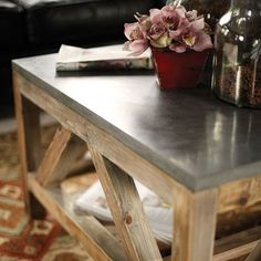 Holden Coffee Table - like the wood color and the bluestone top