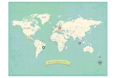 My Travels World Map on OneKingsLane.com 18 x 24 unframed $36