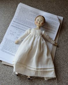 "Gail Wilson design 11"" papier machée and cloth Jane Austen style doll, partially complete."