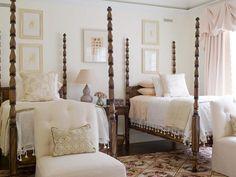 Decorating Guest Bedroom Ideas : Phoebe Howard Twin Bed Room East Hampton Spindle Turned Four Poster Beds Guest Pink Beige Lavendar