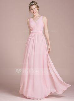 [R$ 375.97] Vestidos princesa/ Formato A Decote V Longos Tecido de seda Vestido de madrinha com Pregueado Curvado (007105580)