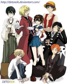 Party Cosplay Host Club by *Detoreik on deviantART. The main reason I'm pinning this is because the voice actor who plays Tamaki Suoh also voices Edward Elric from FMA--and, as you can see, Tamaki is cosplaying as Edward here...