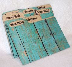 Recipe Box Dividers for Wood Fence  Turquoise Recipe by msw2011, $15.00