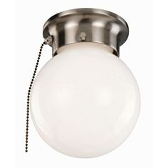 Bathroom Light With Pull Chain Industrial Flush Mount With Prismatic Lens And Pullchain