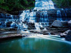 blue water waterfalls Wallpaper