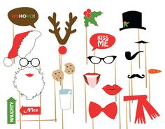 Christmas & Holiday Photo Booth Props, Celebration Props, Printable, DIY, Print Your Own, Downloadable Props - 24 pieces on Etsy, $10.50