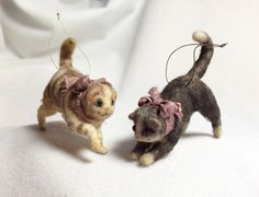 Spun Cotton 'Playful Kitties' Ornaments