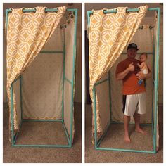 LuLaRoe Dressing Room. Made with PVC pipe. Cost about $70 for everything including the curtains. Hunky husband not included.