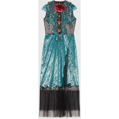 Gucci Embroidered Tulle Dress (376,830 PHP) via Polyvore featuring dresses, gucci, ready to wear, women, stripe dress, embroidery dress, beaded sequin dress, blue dress and blue summer dress