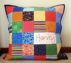 """Harvey"" personalised patchwork pillow by Missy Mac Creations"