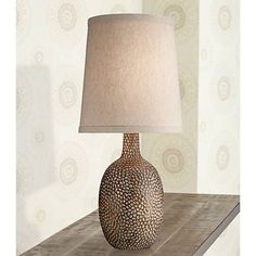 Chalane Hammered Antique Bronze Table Lamp - #W8642 | Lamps Plus