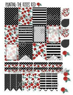 Erin Condren Floral with Black & White Themed by AliciaMichelleXO