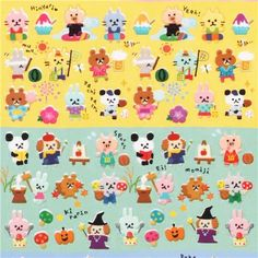 cute tiny seasons animal stickers from Japan