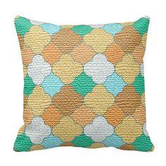 Decorative #Colorful #Lattice #Burlap #Print #Pillows #zazzlebesties #zazzle #shopping #gifts
