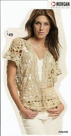 #INSPIRATION: Crochet tops with some diagrams (not in English) Crochet Jacket #2dayslook #CrochetfashionJacket www.2dayslook.com